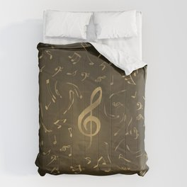 gold music notes swirl pattern Comforters