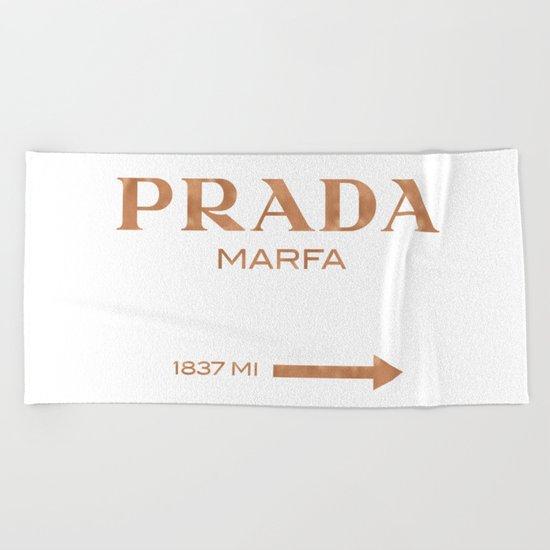 Rose gold copper PradaMarfa sign Beach Towel