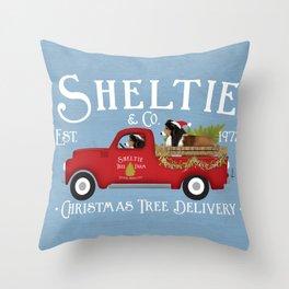 Sheltie Shetland Sheepdog Dog Christmas Tree Farm Vintage Red Truck  Throw Pillow