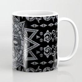 Aztec Sun God - Stone on Black Coffee Mug
