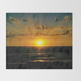 sunset at the beach Throw Blanket