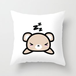 Cute Sleeping Bear Kawaii Style Drawing Gift Throw Pillow