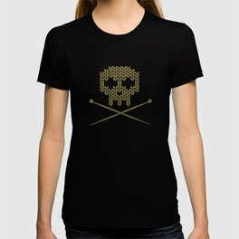 Knitted Skull / Knitting with Attitude (white on olive yellow) T-shirt