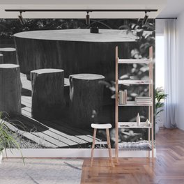Table and seats outside Wall Mural