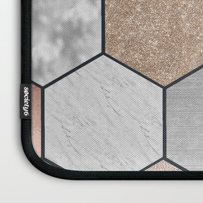 Marble hexagons and rose gold on black Laptop Sleeve