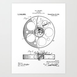 Film Reel Patent - Classic Cinema Art - Black And White Art Print