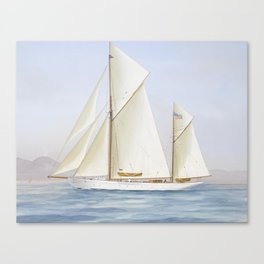 Vintage Racing Ketch Sailboat Illustration (1913) Canvas Print
