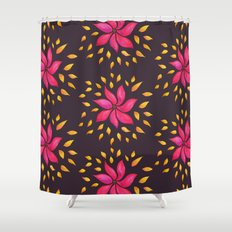 Whimsical Watercolor Floral Pattern In Pink And Purple Shower Curtain