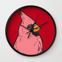 cardinal Wall Clocks featuring Cardinal by turddemon