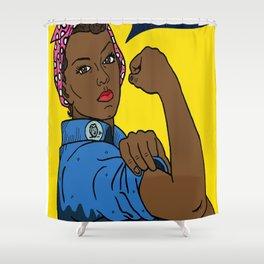 Black Rosie the Riveter Shower Curtain