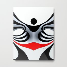 Black White and Red Geometric Abstract Metal Print