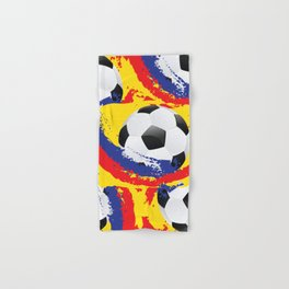Football Ball and red, blue and yellow Strokes Hand & Bath Towel