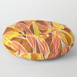 Bright Golden Orange Leaves Floral Print Floor Pillow