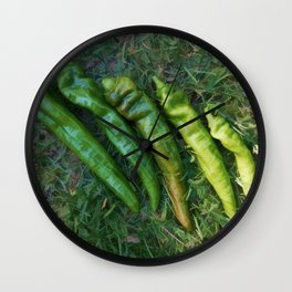 Green Hot Peppers Wall Clock