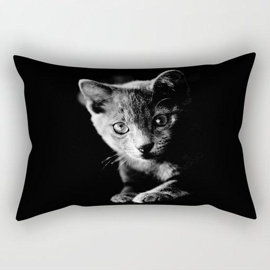 black and white kitten Rectangular Pillow