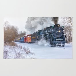 North Pole Express Train (Steam engine Pere Marquette 1225) Rug