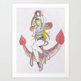 Blonde Bombshell Pinup Flash Art Print
