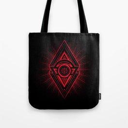 The Eye of Providence is watching you! (Diabolic red Freemason / Illuminati symbolic) Tote Bag