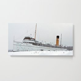SS Keewatin in Winter White Metal Print