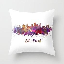 Saint Paul skyline in watercolor Throw Pillow