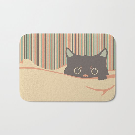 Kitty in the blanket Bath Mat