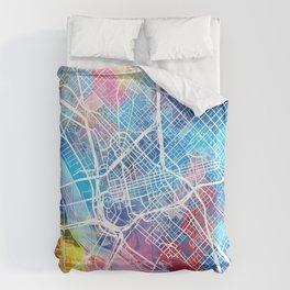 dallas map watercolor Comforters