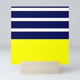 Summer Patio Perfect, Yellow, White & Navy Mini Art Print