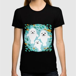 happy family of white seals and fish on a blue background. T-shirt