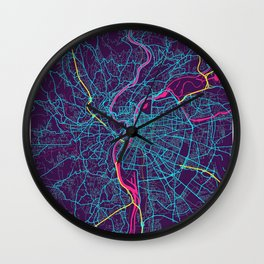 Lyon Neon City Map, Lyon Minimalist City Map Wall Clock
