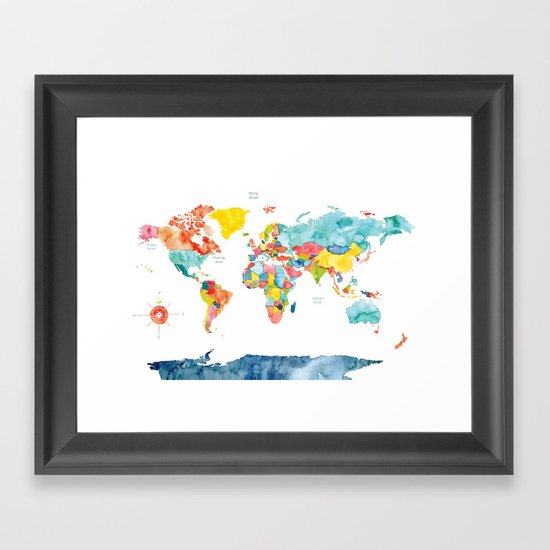 World map framed art print by meera lee patel society6 for World map wall print