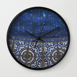 Blue Tile Wall Clock