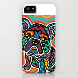 Eddie Designer Dog Puppy Pet Lover Owner Bright Colorful Bright French Bulldog Pug Terrier Fun   iPhone Case