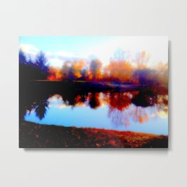 Orange Reflection Metal Print
