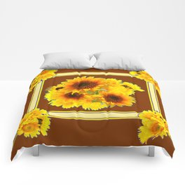 CHOCOLATE BROWN YELLOW SUNFLOWER BOUQUETS Comforters