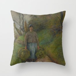 Peasant Woman Carrying Two Bundles of Hay Throw Pillow