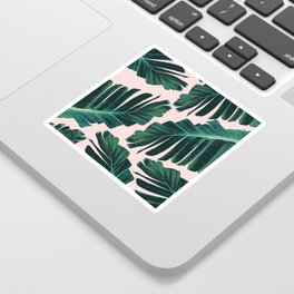 Tropical Blush Banana Leaves Dream #1 #decor #art #society6 Sticker