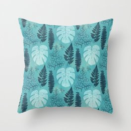 Tropical leaves and ferns in turquoise Throw Pillow