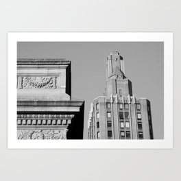 Looking up around the black and white streets in New York City Art Print