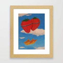 flying strawberries  Framed Art Print