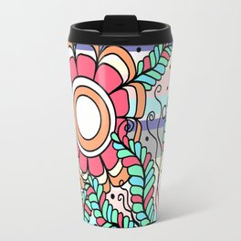 Doodle Art Three Flowers Vines with Stripes Travel Mug