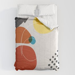 Shape & Hue Series No. 2 – Yellow, Orange & Blue Modern Abstract Comforters