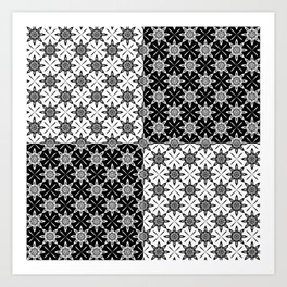 Clover and Blossoms - Color: Black&White Art Print
