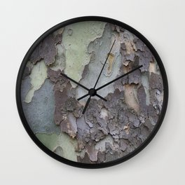 sycamore bark with a green tinge Wall Clock