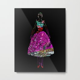Audrey OZ Stardust Pink Glitter Dress Metal Print
