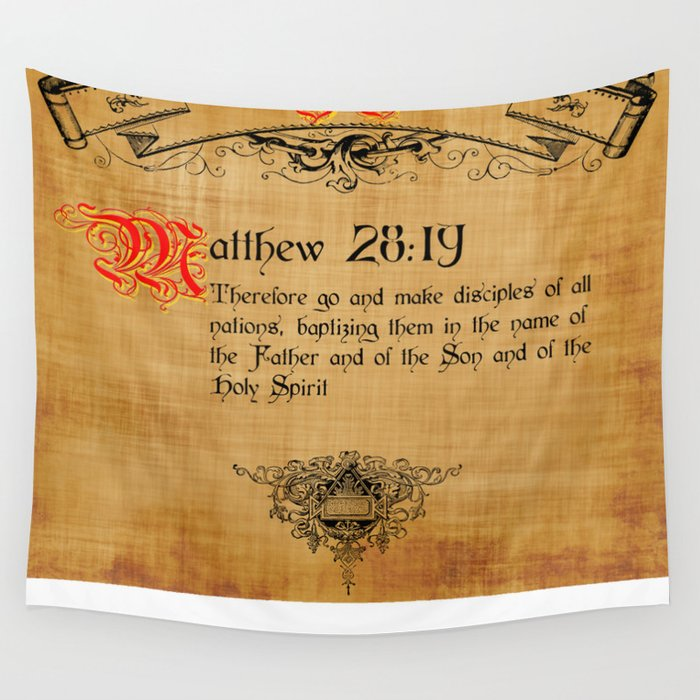 Bible Verse Matthew 28:19 Wall Tapestry by gcuda12
