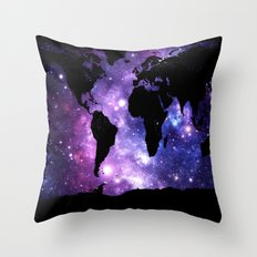 world map. : Galaxy Map Purple Blue Throw Pillow
