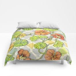 Climbing Nasturtiums in Lemon, Lime and Tangerine Comforters