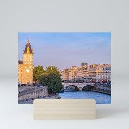 Saint-Michel bridge on Seine river at sunset - Paris, France Mini Art Print