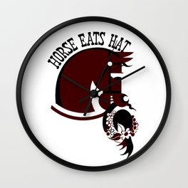 Horse eats hat Wall Clock