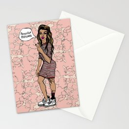Peace Out & Bleed Maroon, Black Female Throwing Dueces Illustration Stationery Cards